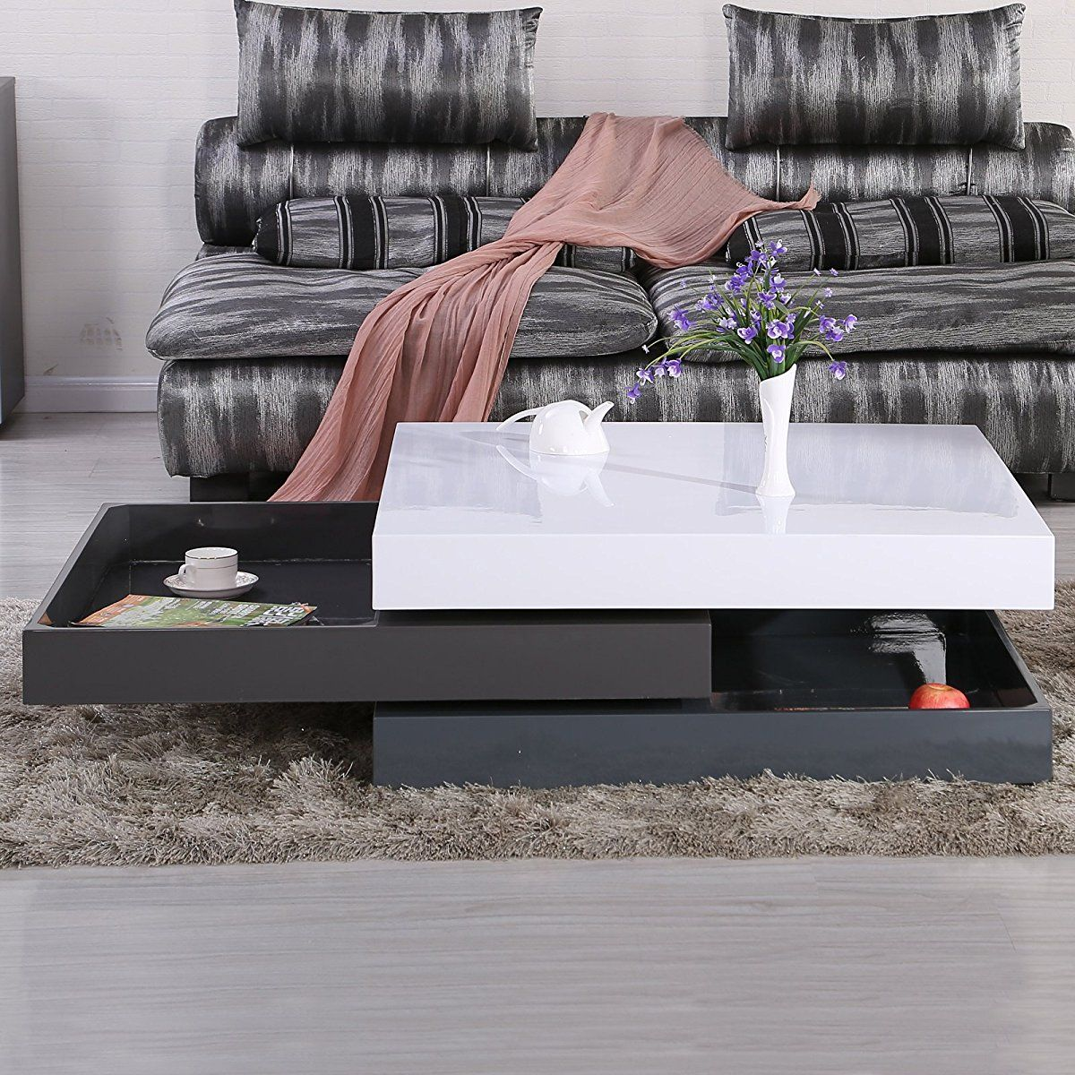 Square storage rotating coffee table 3 layers swivel coffee square storage rotating coffee table 3 layers geotapseo Image collections