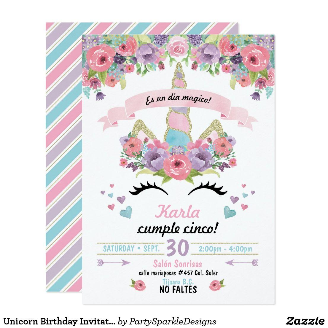 Invitación Del Cumpleaños Del Unicornio Zazzle Es En 2020