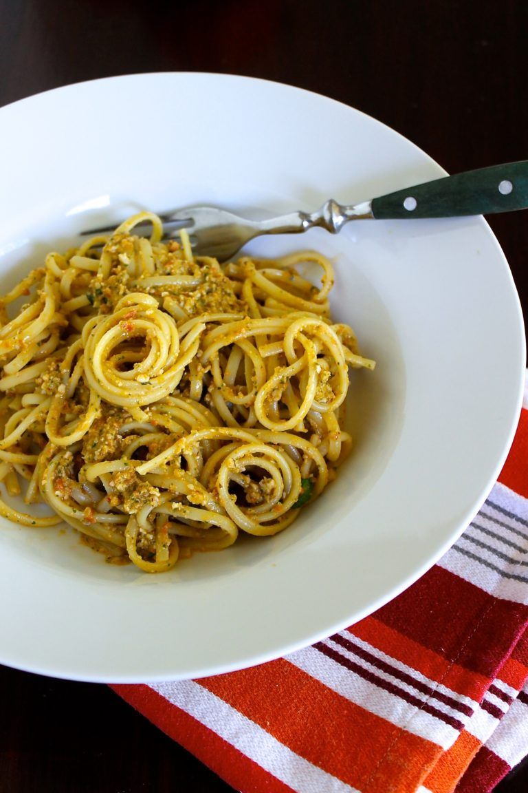 Linguine with Pesto alla Trapanese A favorite Sicilian dish, this pesto alla Trapanese is similar to pesto alla Genovese but it's made with almonds instead of pine nuts, and it also has tomatoes. Click for the step-by-step recipe including a video