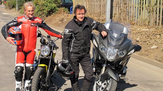 "Carl Fogarty and Richard Hammond World Superbike champion Carl Fogarty and Top Gear star Richard Hammond have led 5,000 motorbikes at a charity rally to raise money for the Midlands Air Ambulance. Fogarty, riding a Ducati scrambler, and Hammond, astride a ""boring"" BMW R1200RT, both praised the work of the ambulance service before setting off on the charity's fifth annual Bike4Life fundraiser."