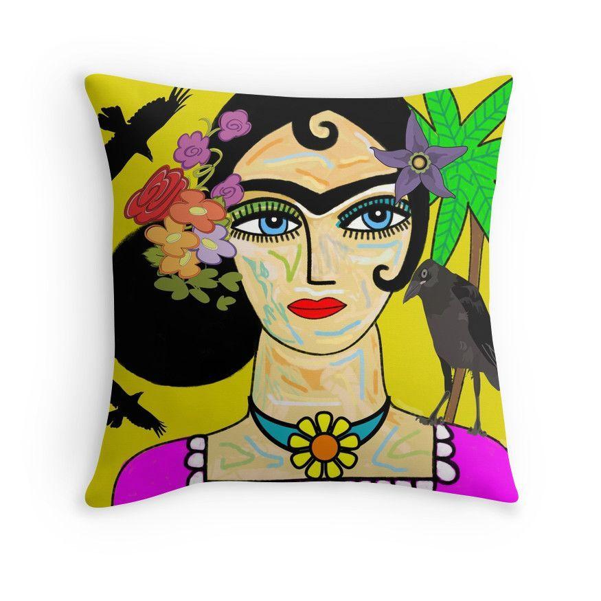 Frida Kahlo With Ravens Throw Pillows
