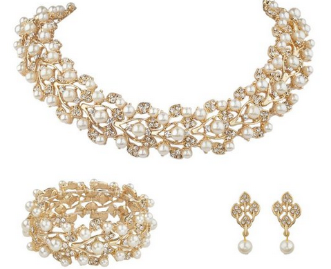Charm EVER FAITH Austrian Crystal Bridal Cream Simulated Pearl Leaf Jewelry Set Clear 4.8 out of 5 stars 29 customer reviews