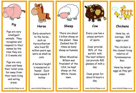 Farm Animal Bookmarks - Facts | Farm facts, Animal facts for kids ...