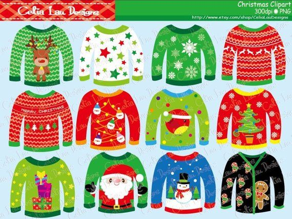 Ugly christmas sweater red. Sweaters clipart for personal