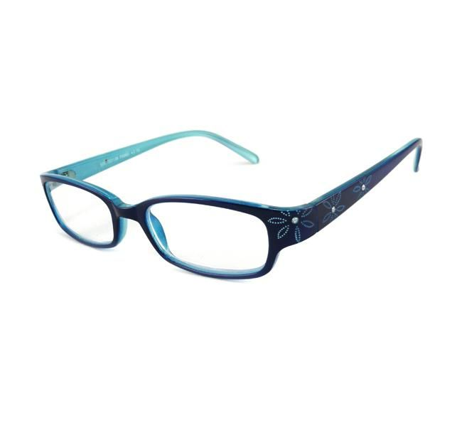b354126029f These Urban Eyes reading glasses feature a crystal floral blue plastic  frame with delicate rhinestone accents