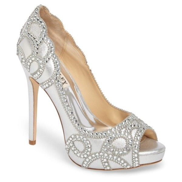 Women's Badgley Mischka Witney Embellished Peep Toe Pump (€220) ❤ liked on Polyvore featuring shoes, pumps, silver suede, peep toe pumps, peep toe shoes, badgley mischka shoes, badgley mischka and peep-toe shoes