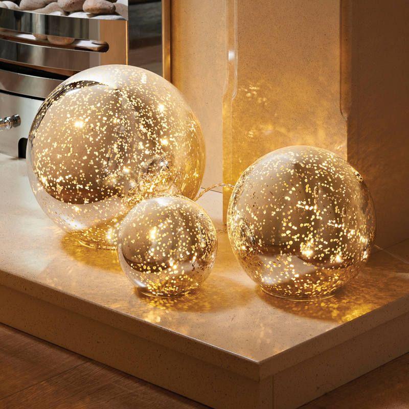 3 Mercury Glass Ball Lights Set  Warm white LED string lights