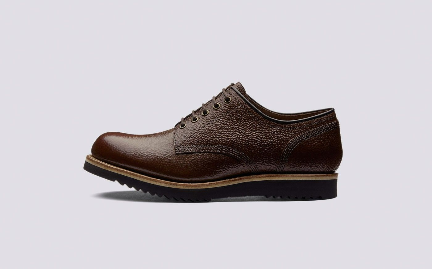 c00bb6ffced Drew | Mens Derby in Dark Brown Country Grain Calf Leather with a ...
