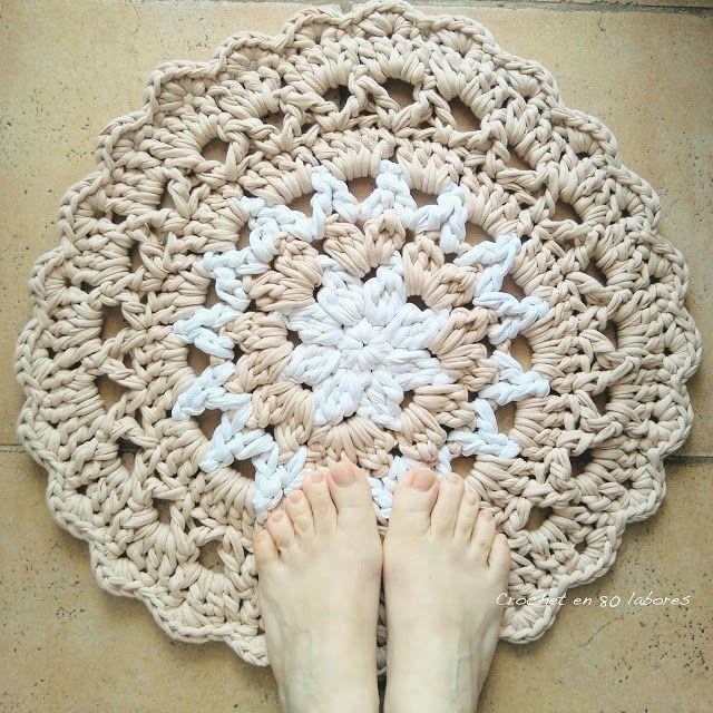 Crochet en 80 labores: Alfombra para el baño beige y blanca ...