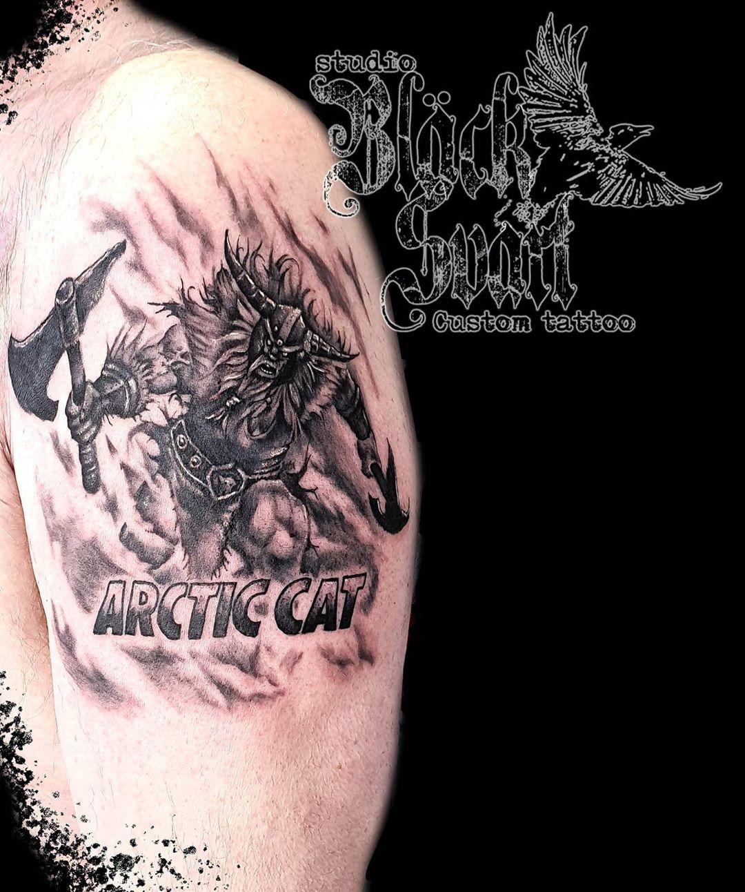 Arctic Viking. 🌊⛵🐯❄ #vikingtattoo #arcticcat #fury #axes #artist #snowmobile #destiny #blackworktattoo  #northmen #northwest #norrland #lappland #vilhelmina #studiobläcksvart #tattooink #tattoo #tatueringsstudio #tatuering #ink #armtattoo #artist #artwork #västerbotten #landofgods #blackthirteen #blackandgrey #blackandgreytattoo #greyscale #realistictattoo #vojmå @silverbackink @hustlebutterdeluxe @stencilstuff @cheyenne_tattooequipment @davincineedles @the.best.b.n.g.tattoo.page @blackandgrey