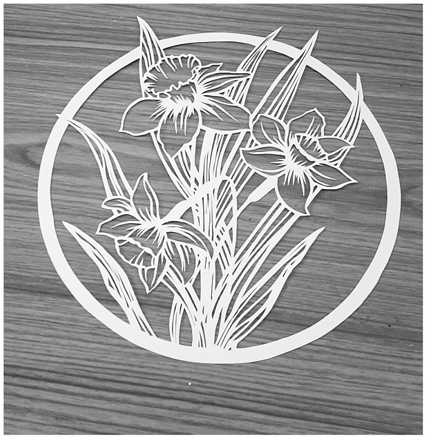 Freesia And Rose Floral Papercutting Template