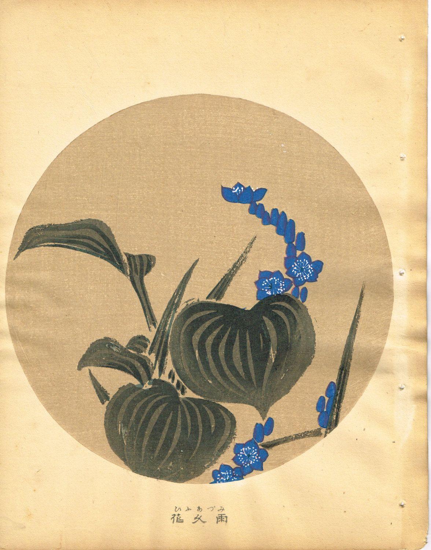 "Japanese antique woodblock print Ito Jakuchu ""Hollyhock from Jakuchu gafu"""