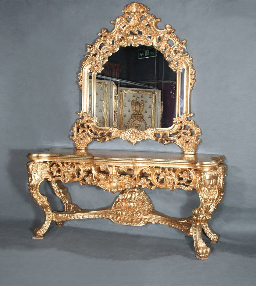 French baroque furniture - Vintage Baroque Furnishings French Empire Furniture Baroque Golden Foil Cracking Paint Console