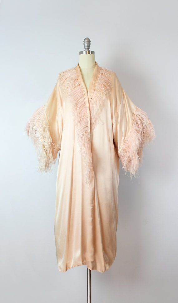 6c763cb02e Vintage 1920s blush pale pink silk robe with dyed pink ostrich feather trim  at the neckline