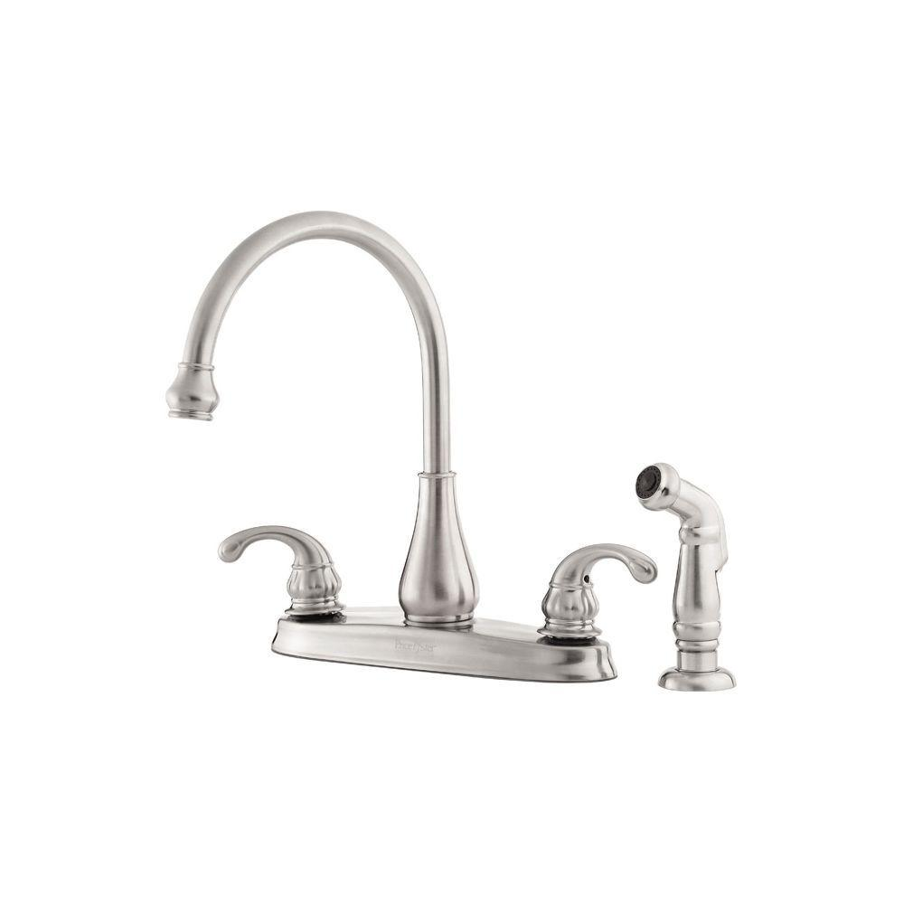 Pfister Treviso 2 Handle Standard Kitchen Faucet With Side Sprayer