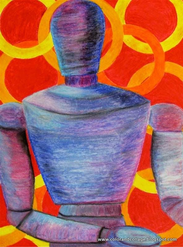 Color Collage And Much More Oil Pastel Figure Lesson