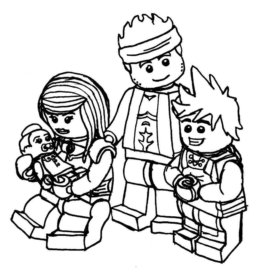 Ninjago Nya And Kai Family Sketch Coloring Page