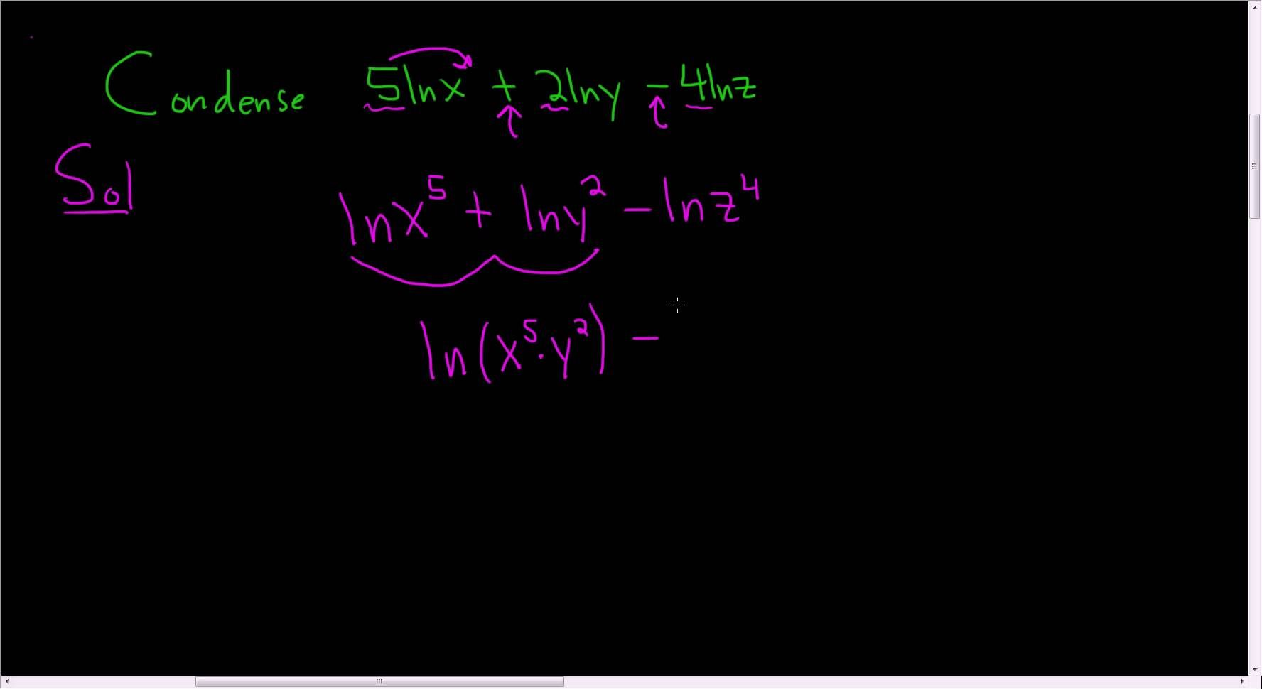 Condensing Using The Properties Of Logarithms Example 6