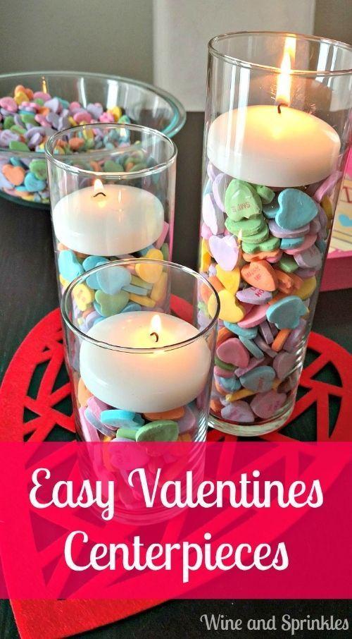 DIY Candy Heart Valentines Centerpieces!