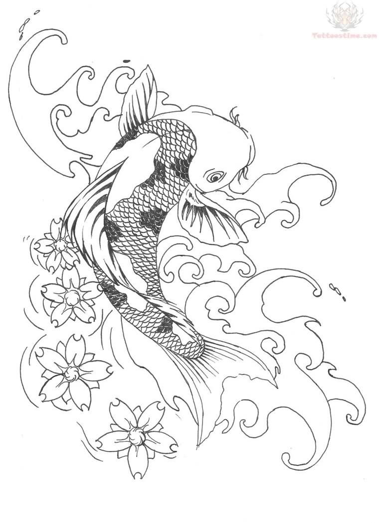 Koi fish drawing with flowers google search sketch for Koi fish sketch