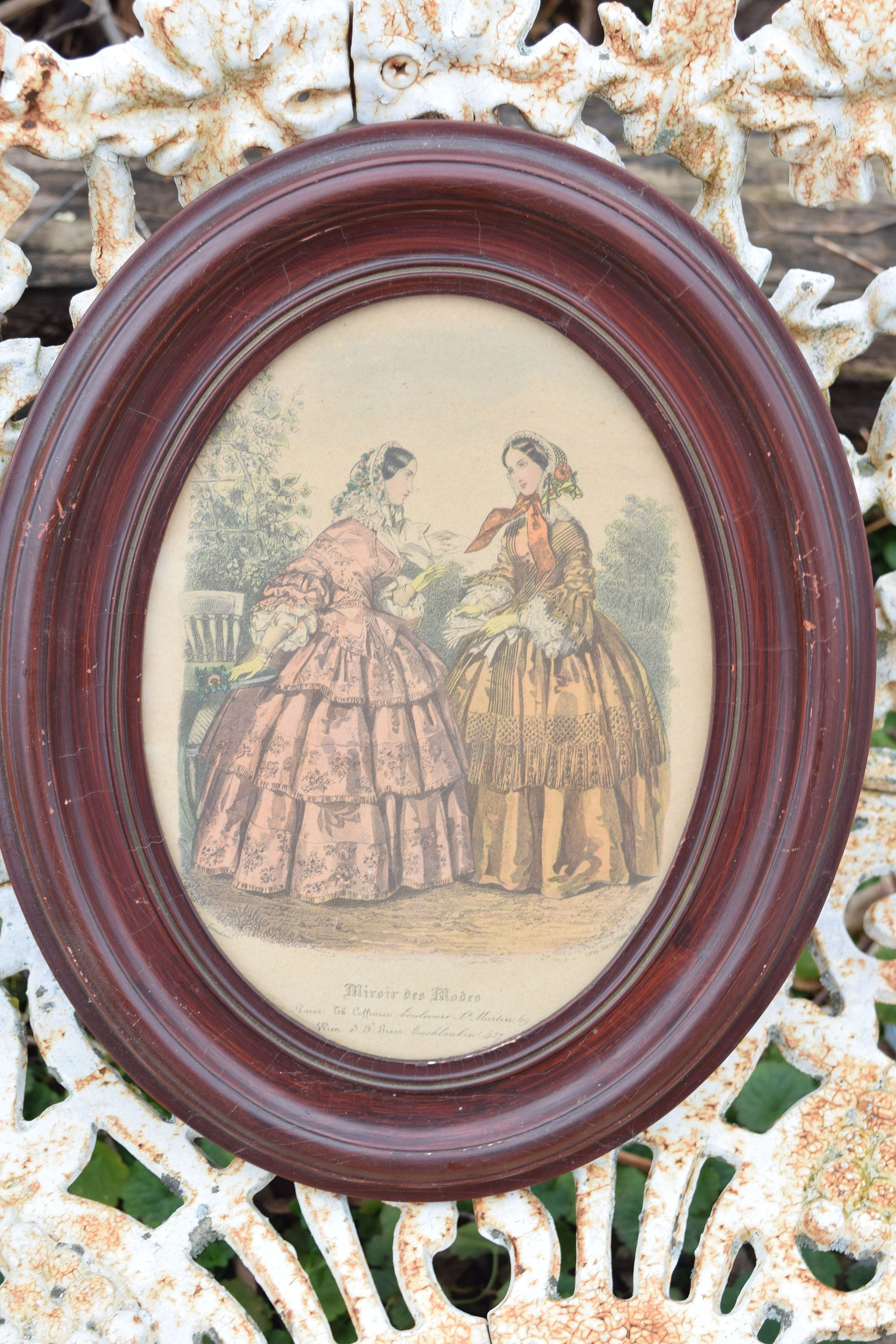 Pair Antique French fashion prints in vintage frames Victorian dress shabby style decor