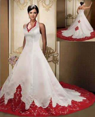 Trendy Ball Gown Halter Red And White Plus Size Wedding Gown BGW