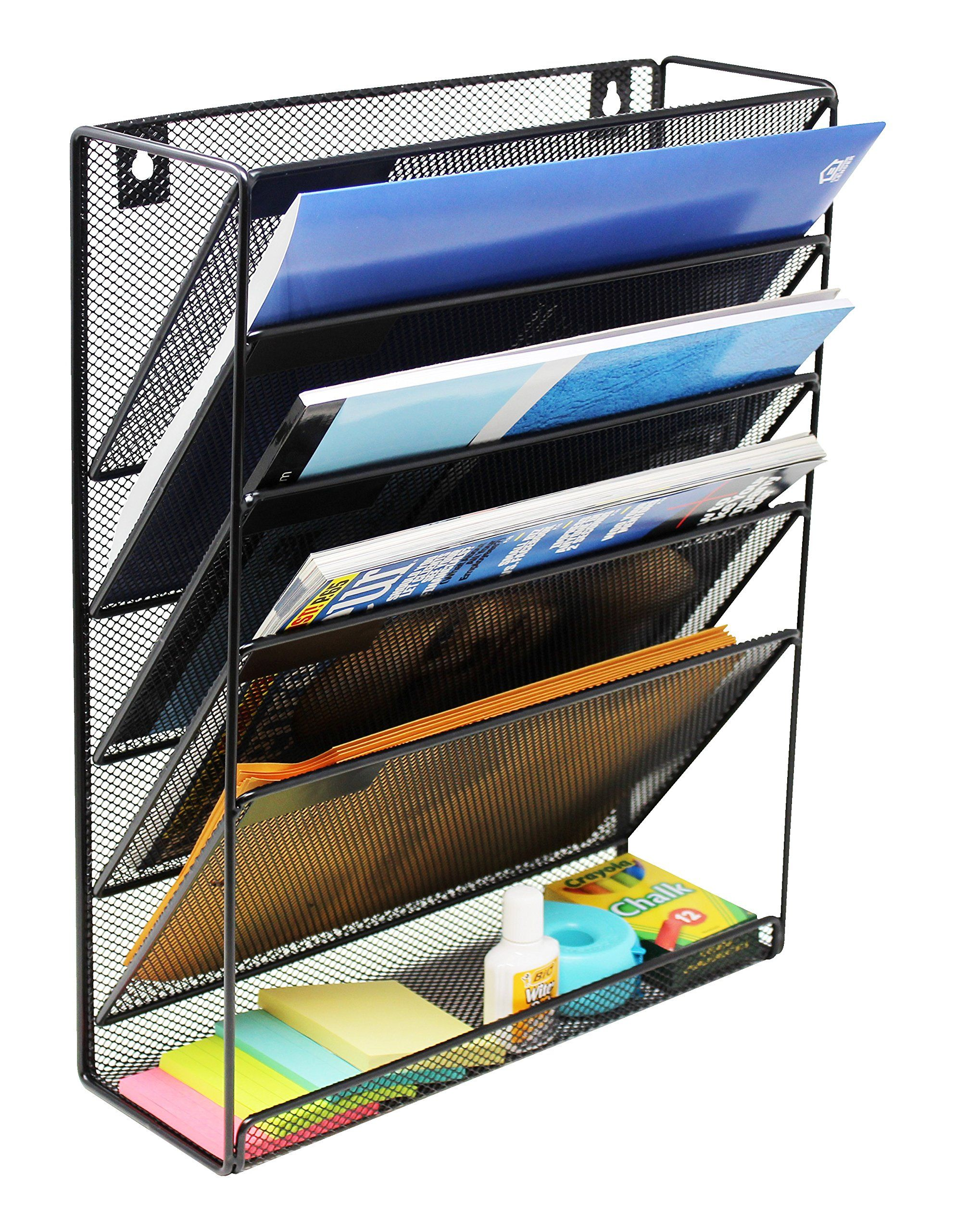 Mesh Wall Mounted Hanging Document And File Organizer 5 Compartment Vertical Magazine Rack And Mail Sorter Hol Desk Organization Wall File Organizer Wall File