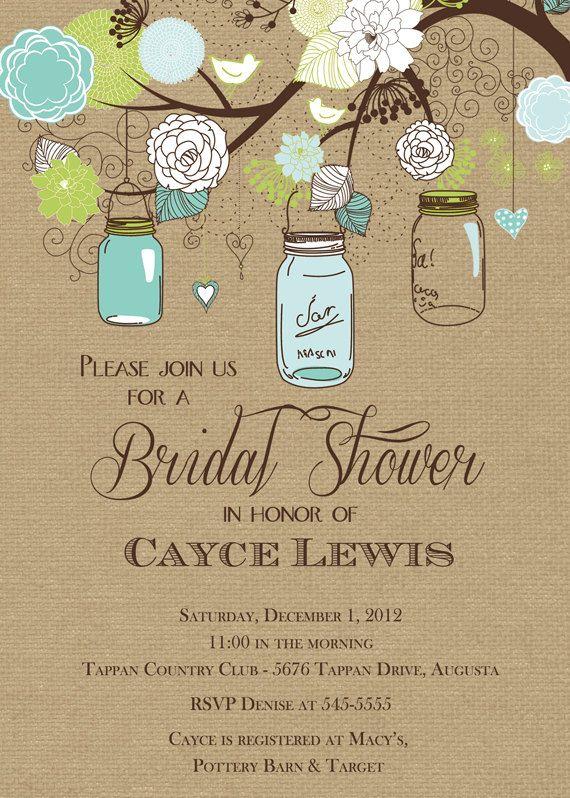 free printable bridal shower invitations rustic mason jar tree with burlap bridal shower invitation printable