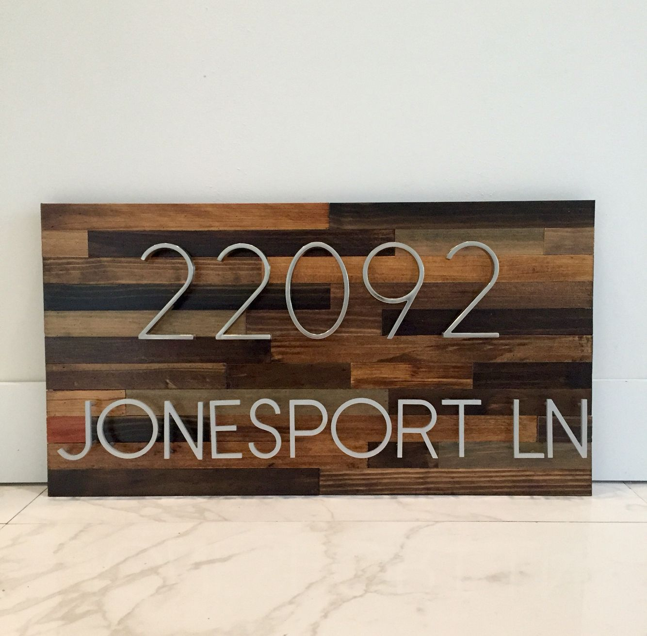 Reclaimed Wood Address Plaque With Letters And Numbers House