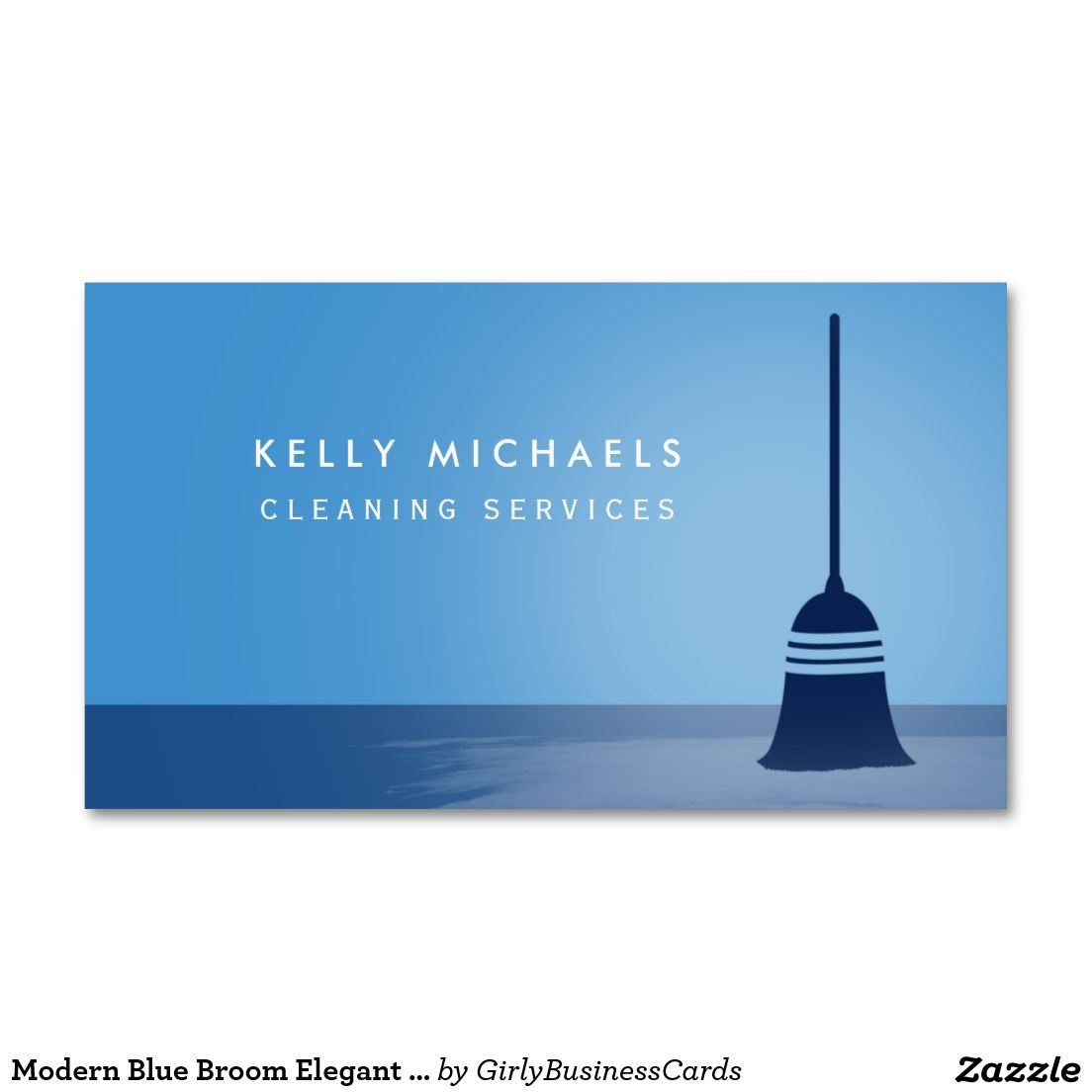 Modern Blue Broom Elegant Cleaning Services Business Card | Cleaning ...