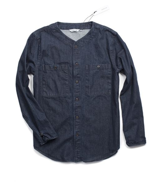 Collarless Overshirt_LS_DENIM_front