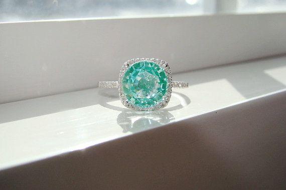 Large Halo Mint Green Pariba Tourmaline Diamond Ring