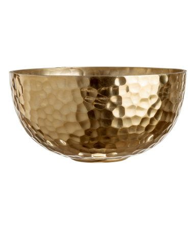 Gold Colored Small Metal Bowl With A Hammered Finish Height Approx 2 In Diameter At Top 4 In Metal Bowl H M Home Gold Home Decor