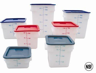 12 Qt Plastic Square Food Storage Containers White By Thunder Group 40 99 12 Qt Plastic Sq Food Storage Containers Food Storage Kitchen Storage Organization