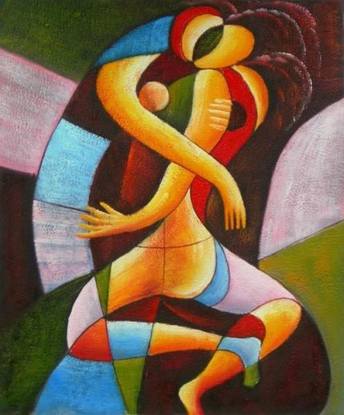 Wall Art finished in USAHistory: Passionate Kiss is a hand finished canvas oil painting. Intensely colored, this abstract art oil painting of two lovers shows t