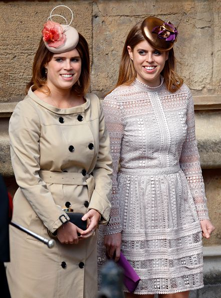 (L-R) Princess Eugenie, wore a classic beige trench coat ...