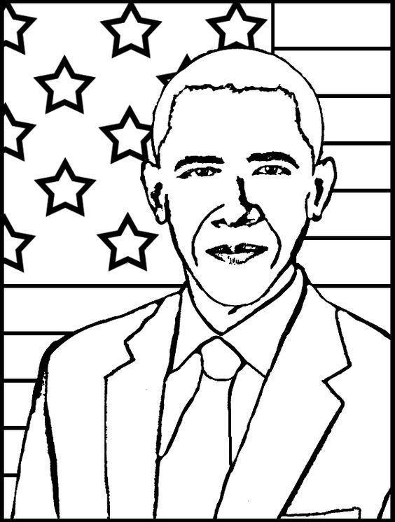 Barack Obama Coloring Pages | Black history month ...