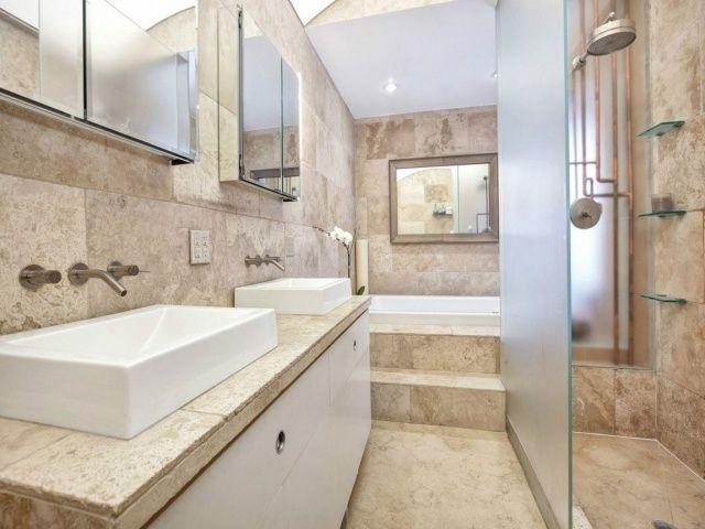 Badezimmer Fliesen Naturstein Optik Begehbare Dusche Badewanne