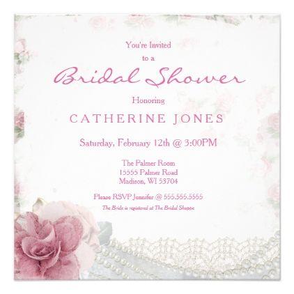Romantic Chic Pink Rose Bridal Shower Invitation