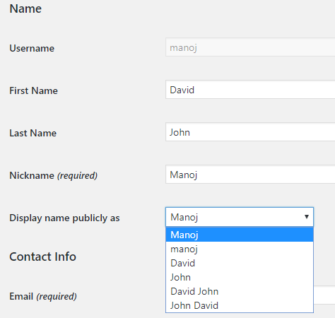 display name wordpress