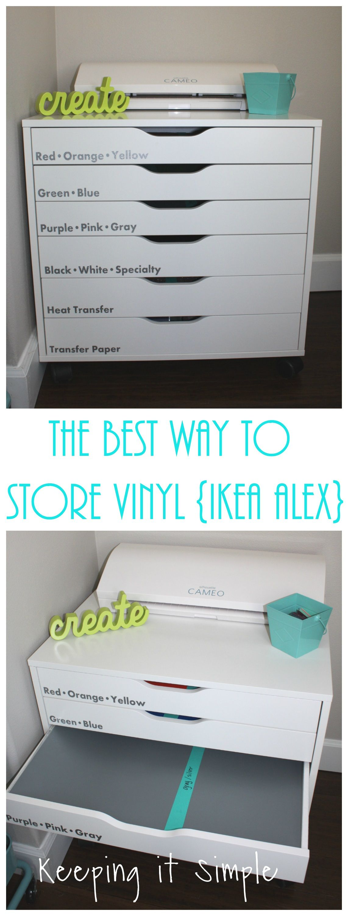 The Best Way To Store Vinyl Ikea Alex Storage Unit Keeping It Simple Craft Room Storage Craft Room Craft Room Organization