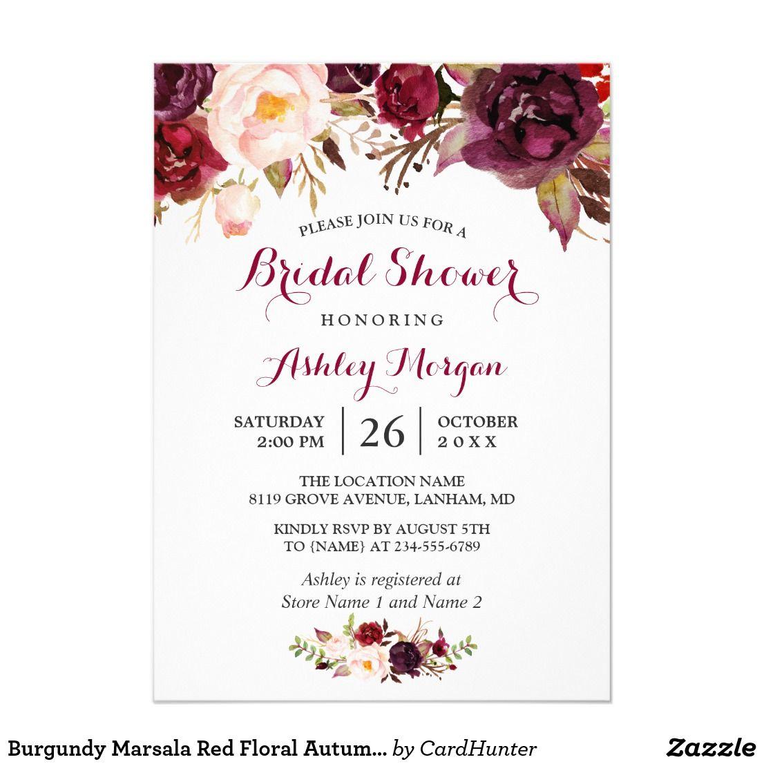 Burgundy Marsala Red Floral Autumn Bridal Shower Invitation ...