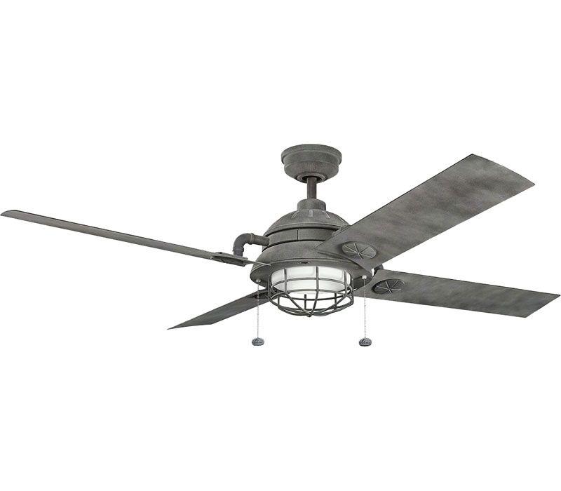 Kichler 310136wzc High Airflow Ceiling Fan Weathered Zinc 65 Outdoor High Airflow Ceiling Fan With Light Ceiling Fan Ceiling Fan With Light Kichler
