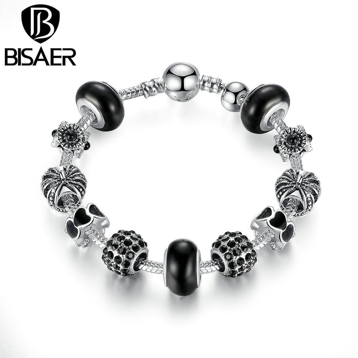 Trendy charm bracelet silver color crown black murano beads