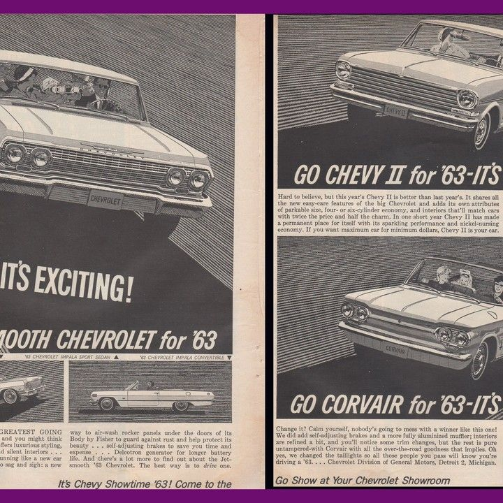 1963 Chevrolet Impala Sedan Convertible Bel Air Wagon Chevy 2 Nova and Corvair Monza Convertible Vintage Ad from West Coast Vintage for $10.00 on Square Market