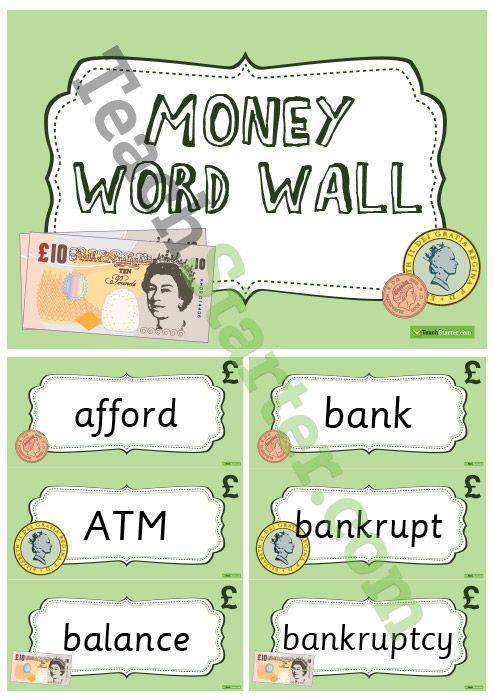 UK Money Word Wall Vocabulary Teaching Resource