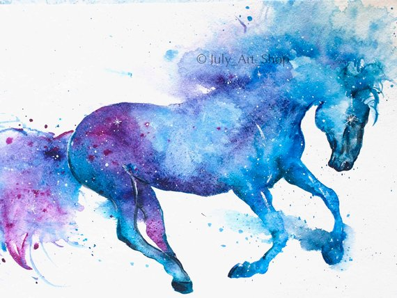 Horse Art Gift For Horse Lover Watercolor Galaxy Horse Violet