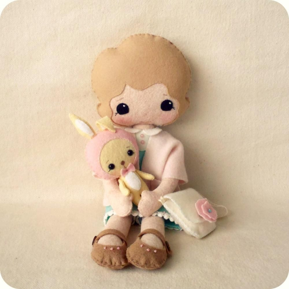 A sweet and easy pattern to make a darling doll and her dear bunny ...