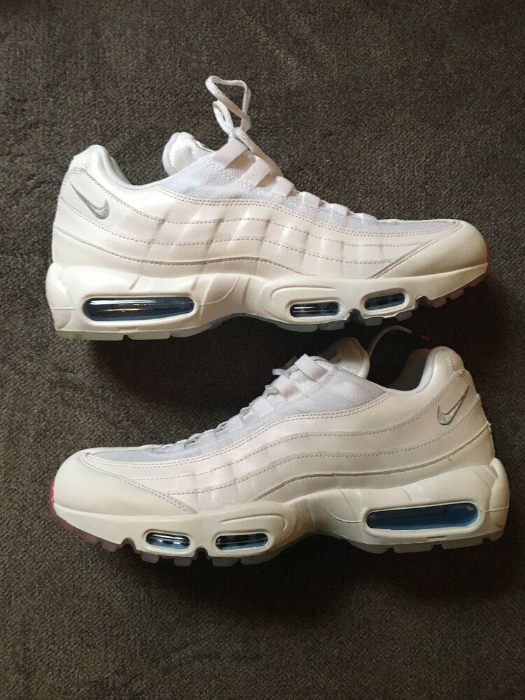 16cd0a19cb Nike Air Max 95 Size 11.5 White Photo Glacier Blue Metallic Silver AQ7981- 100 #
