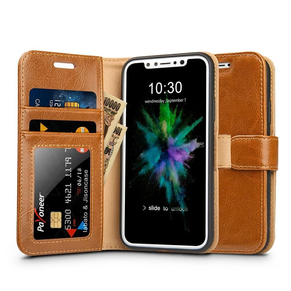 info for d9cdc 0e341 Genuine Leather Card Holder Wallet Phone Case for iPhone X Flip ...